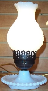 hurricane lamp hobnail milk glass3