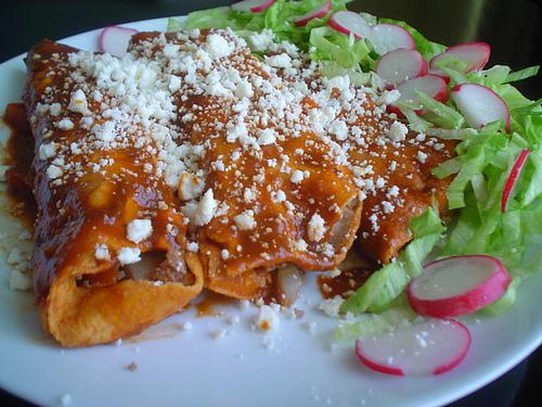 cheese & onion enchiladas
